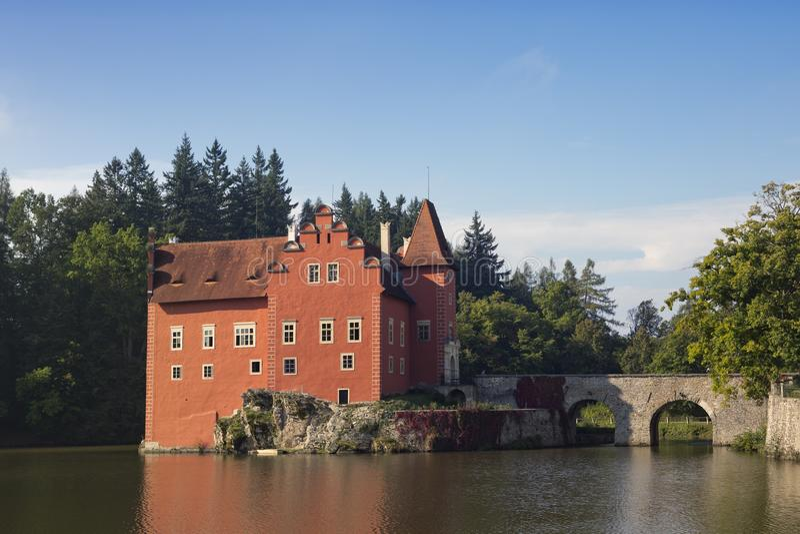 Cervena Lhota. Czech Republic. Castle on the lake stock images