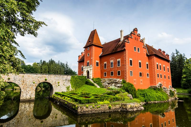 Cervena Lhota - the red, water chateau in the the Czech republic. royalty free stock photos