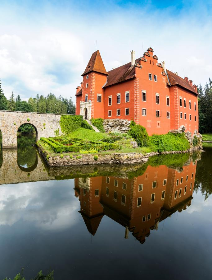 Cervena Lhota - the red, water chateau in the the Czech republic. stock image