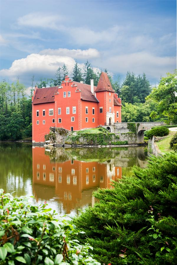 Cervena Lhota - the red, water chateau in the the Czech republic. royalty free stock images