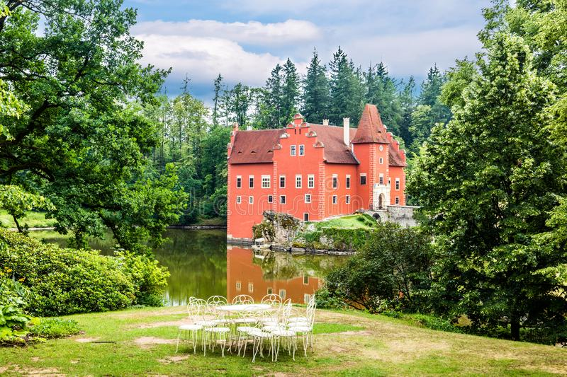 Cervena Lhota - the red, water chateau in the the Czech republic. stock photos