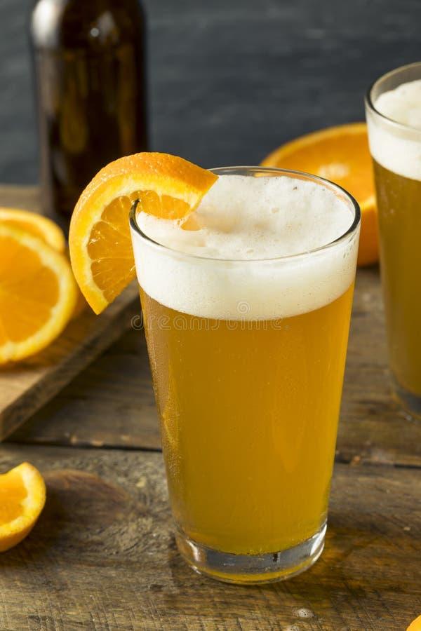 Cerveza anaranjada orgánica del arte de la fruta cítrica imagen de archivo