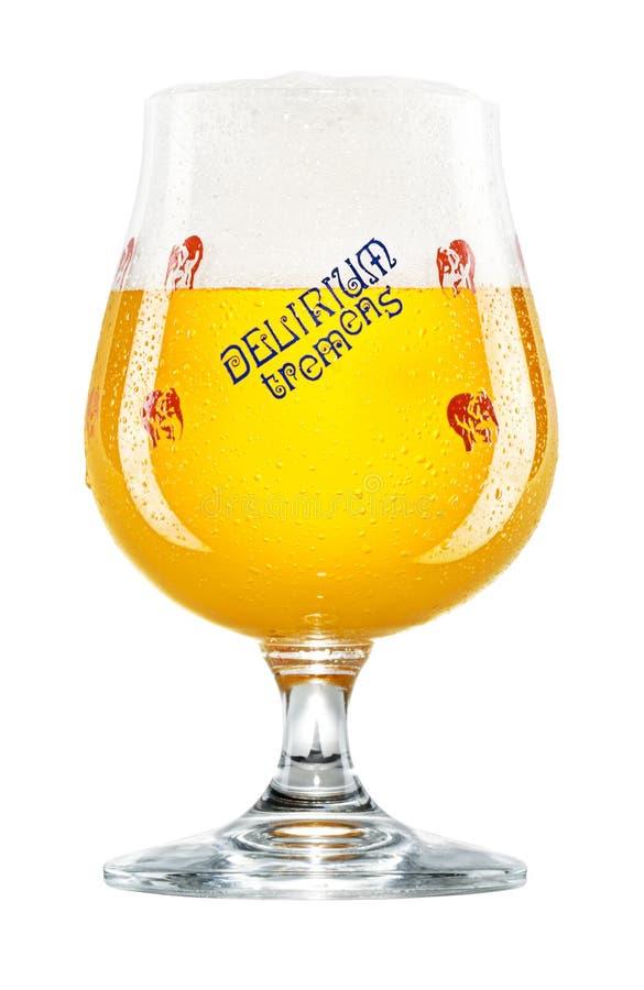 Cerveza belga del delírium tremens en vidrio de la etiqueta imagen de archivo libre de regalías