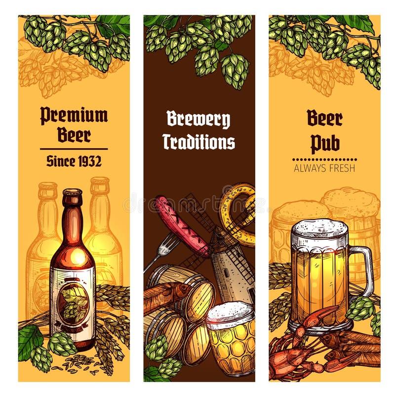 Cerveza con la bandera de los bocados para el pub, diseño de la cervecería ilustración del vector
