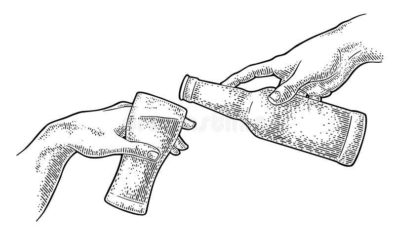 Cerveza de colada del finger masculino de la botella en el vidrio La creaci?n de Ad?n ilustración del vector