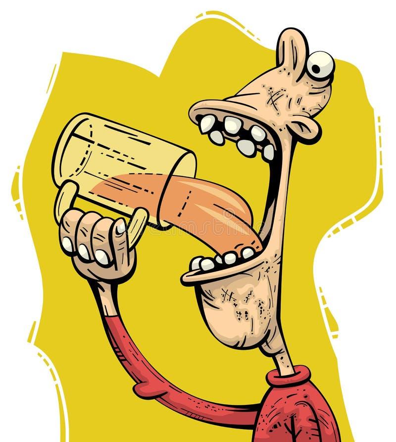 Cerveza de consumición del hombre codicioso libre illustration