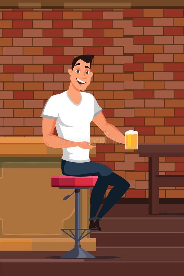 Cerveza de consumición del hombre joven en el ejemplo del vector del pub ilustración del vector
