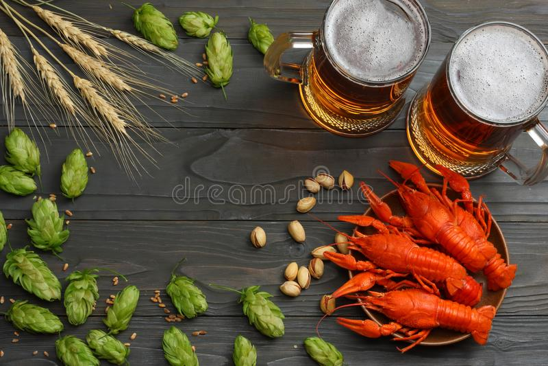 Cerveza de cristal con los cangrejos, los conos de salto y los oídos del trigo en fondo de madera oscuro Concepto de la cervecerí fotografía de archivo