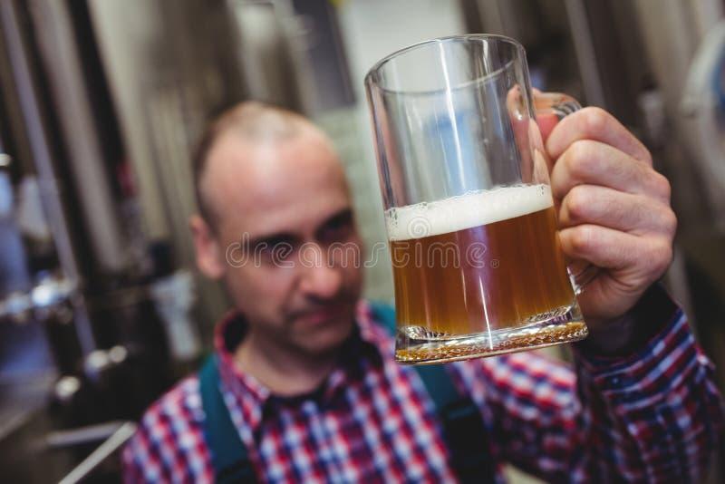 Cerveza de examen del trabajador en taza foto de archivo
