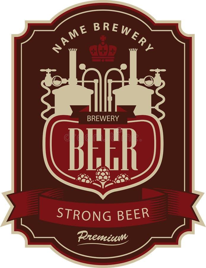 Cerveza de la etiqueta con la cervecería libre illustration