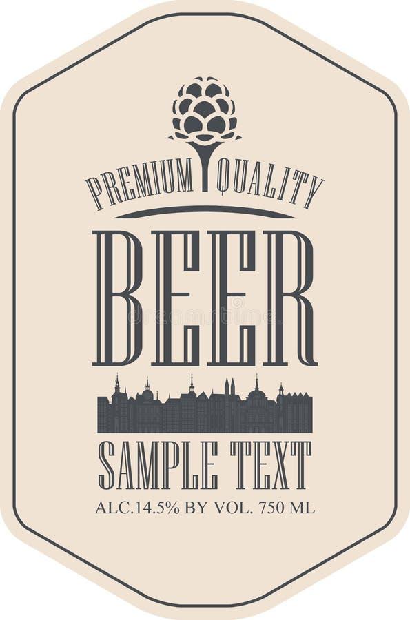 Cerveza de la etiqueta con la ciudad vieja libre illustration