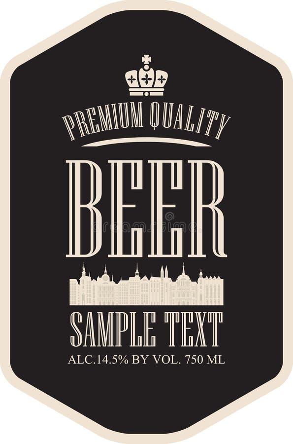 Cerveza de la etiqueta con la ciudad vieja stock de ilustración