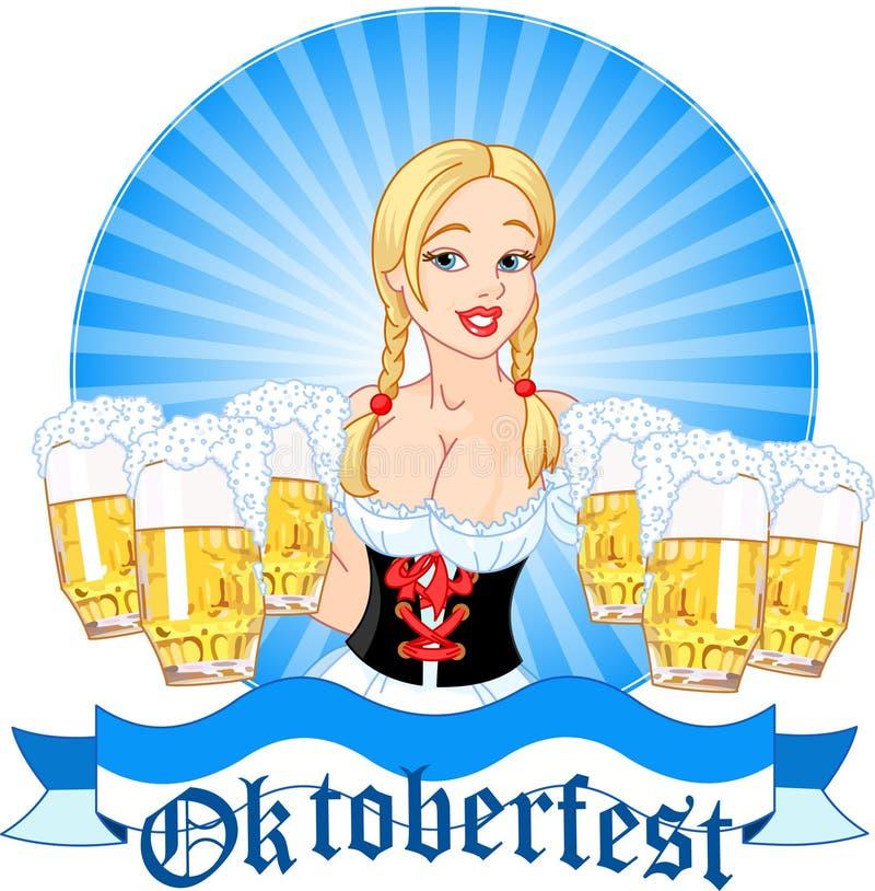 Cerveza de la porción de la muchacha de Oktoberfest ilustración del vector