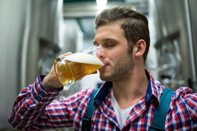 Cerveza de la prueba del cervecero foto de archivo libre de regalías