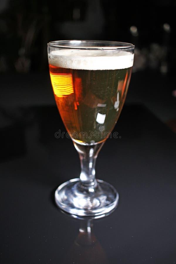 Cerveza Cerveza de oro amarilla clara con el vidrio en fondo reflexivo negro del estudio Fondo duplicado espejo brillante negro a fotos de archivo