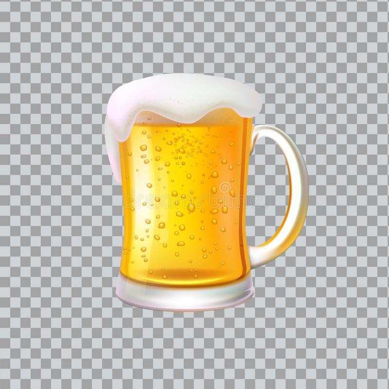 Cerveza del arte con la espuma, bebida de cristal grande del alcohol de la taza ilustración del vector