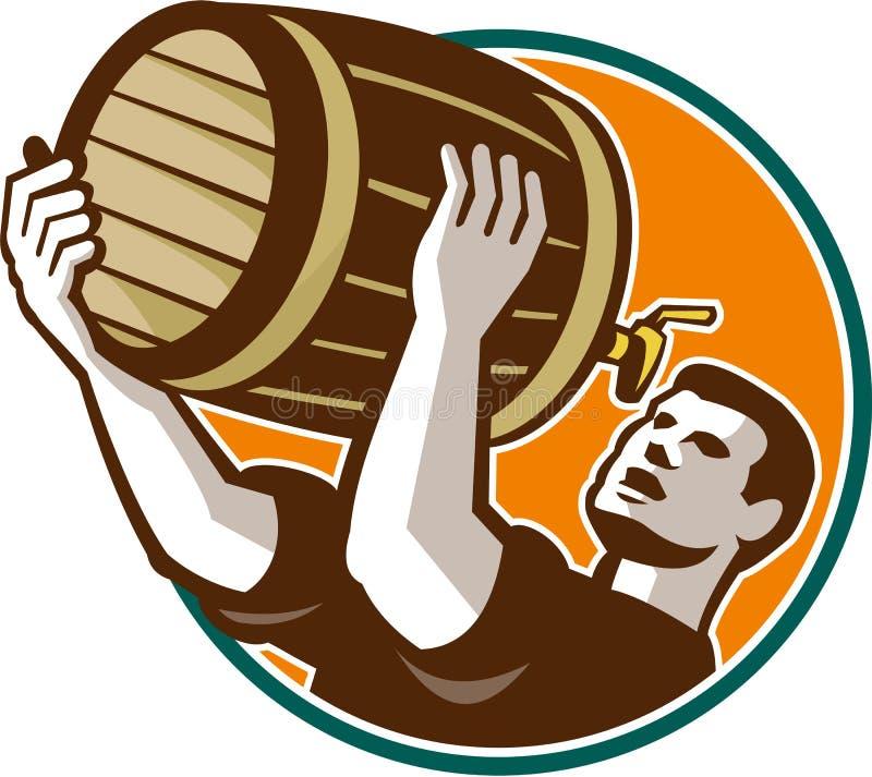 Cerveza del barril de Pouring Drinking Keg del camarero retra stock de ilustración