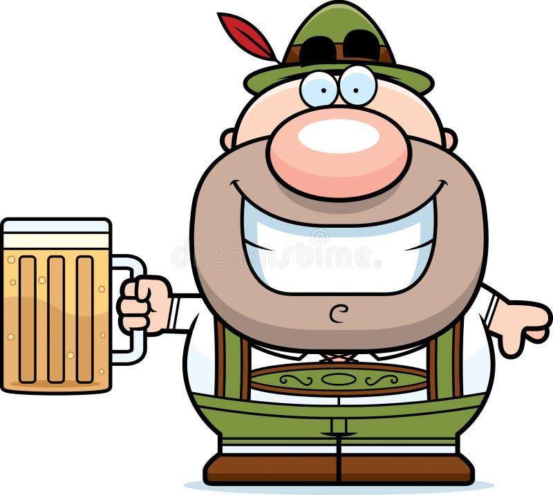 Cerveza del hombre de los Lederhosen de la historieta ilustración del vector