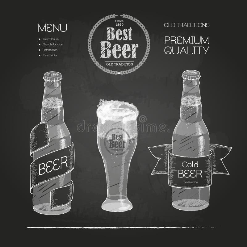 Cerveza en botella y vidrio stock de ilustración