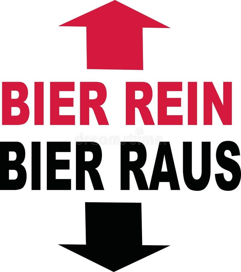 Cerveza en de la cerveza alemán del lema hacia fuera ilustración del vector