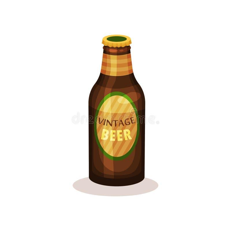 Cerveza en la botella de cristal con la etiqueta Bebida del vintage Bebida alcohólica Vector plano para hacer publicidad del cart ilustración del vector
