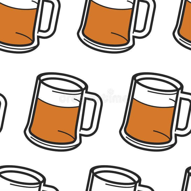 Cerveza en taza con el modelo inconsútil de la bebida del alcohol de la espuma libre illustration