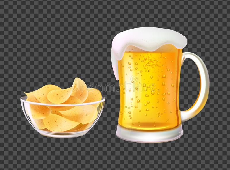 Cerveza en taza con espuma y microprocesadores en el cuenco para el bocado libre illustration