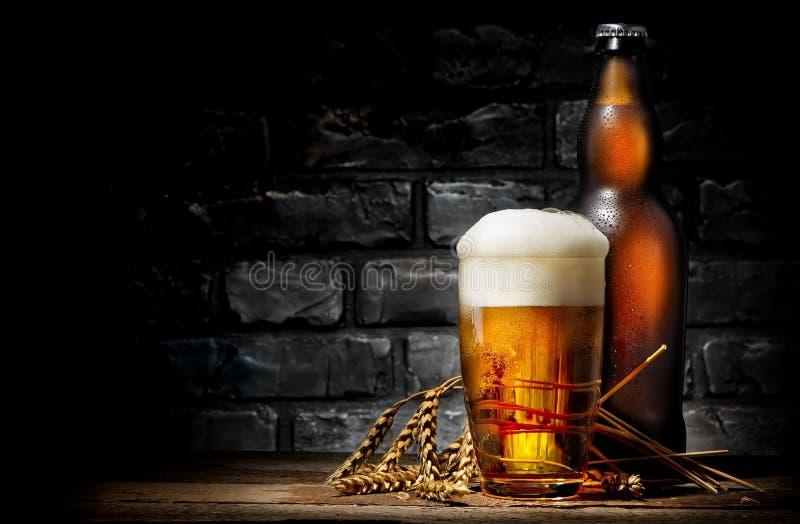 Cerveza en vidrio y botella fotos de archivo