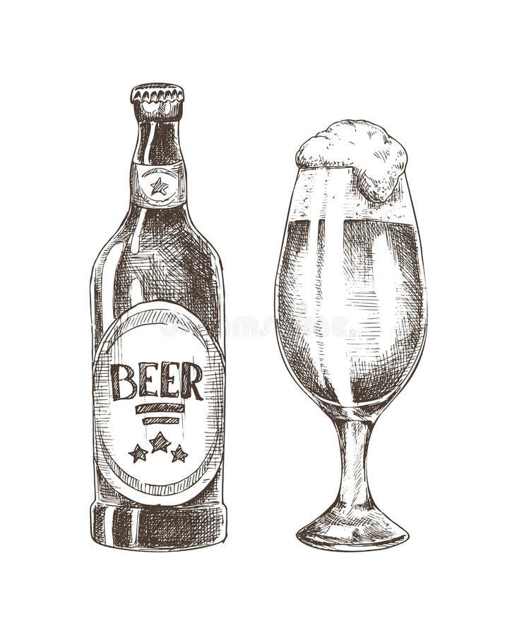 Cerveza espumosa en cubilete vidrioso y Ale Bottle cerrado stock de ilustración