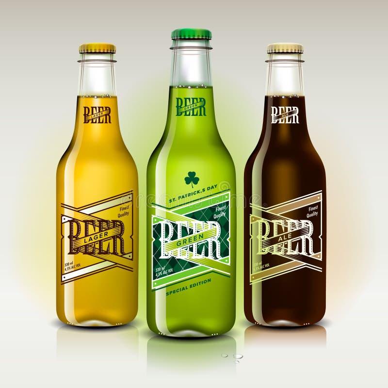 Cerveza fijada para el día de St Patrick ilustración del vector