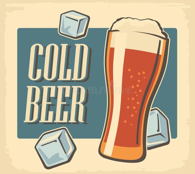 Cerveza fría del cartel del vintage y cubo de hielo Etiqueta o diseño retra de la bandera Fondo brillante de la vieja textura de  ilustración del vector
