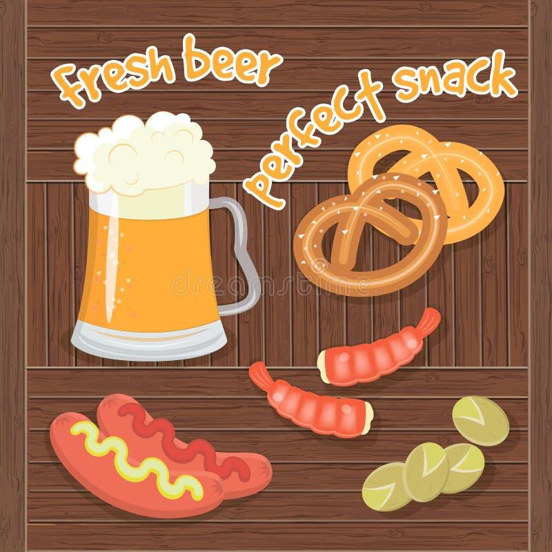 Cerveza fresca y  perfecto k de SnaÑ ilustración del vector