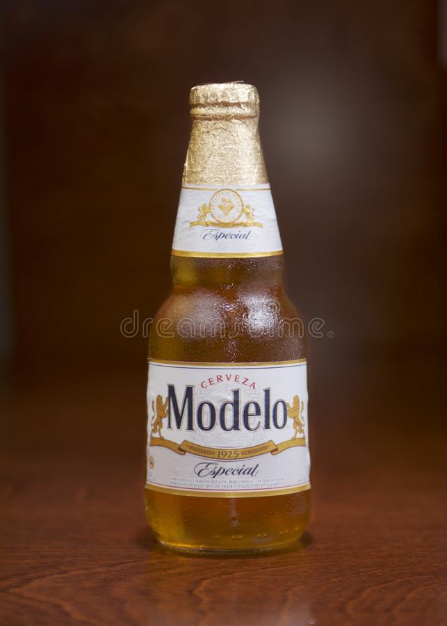 Cerveza Modelo bottle. This is a product shot of a bottle of cold Cerveza Modelo beer, using professional lighting setup royalty free stock photo