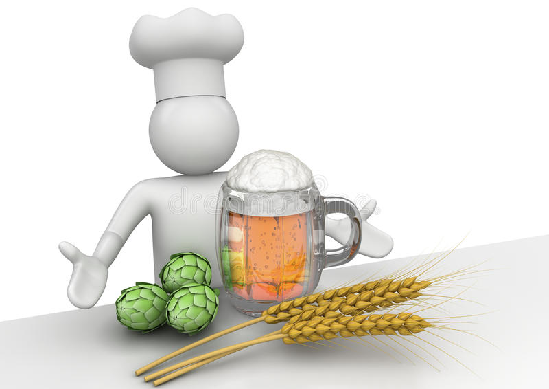 Cerveza, oído, malta y cervecero - trabajadores ilustración del vector