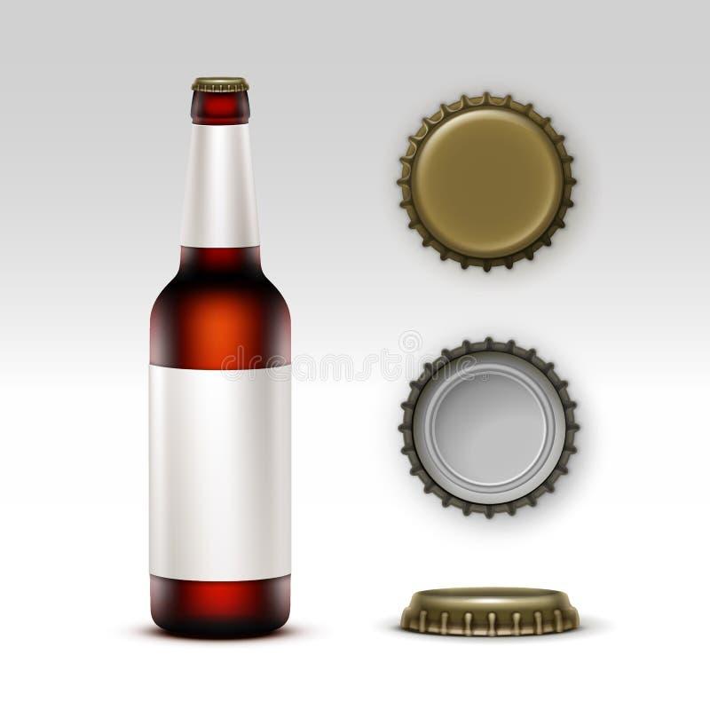 Cerveza oscura de la botella de cristal de Brown con la etiqueta y los casquillos libre illustration