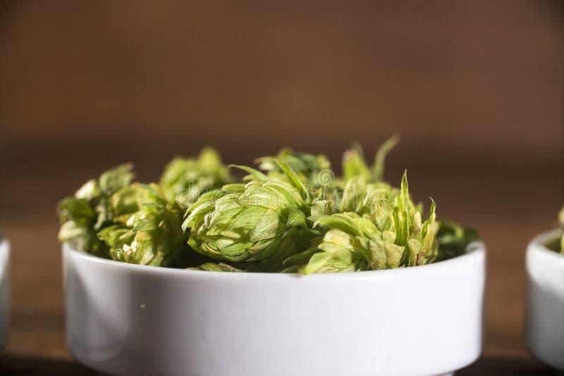 Cerveza que elabora los conos de salto de los ingredientes en oídos de madera del cuenco y del trigo en fondo de madera Concepto  fotografía de archivo