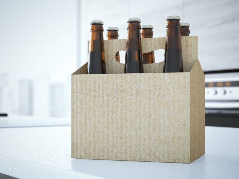 Cerveza que empaqueta en la tabla representación 3d foto de archivo