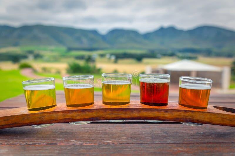 Cerveza que prueba los vidrios en una bandeja de madera fuera de la cervecería con una hermosa vista de las montañas fotos de archivo libres de regalías