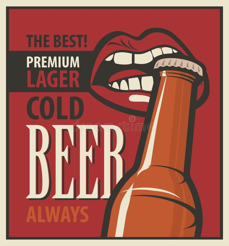 Cerveza retra ilustración del vector