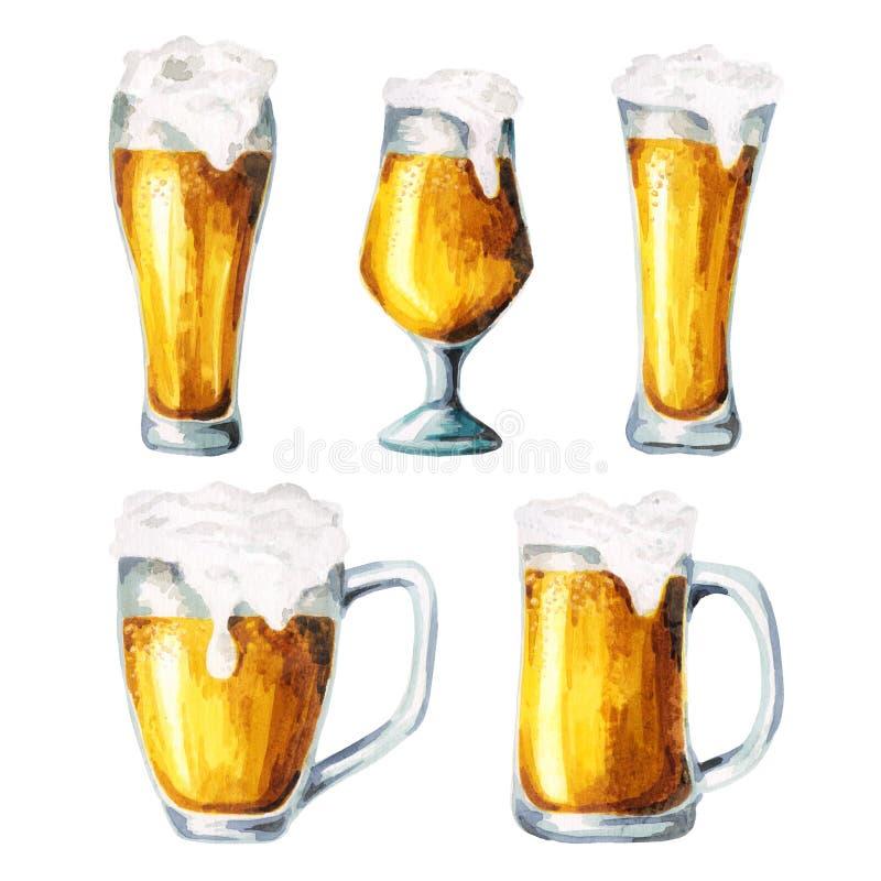 Cerveza, saltos, sistema de la malta watercolor libre illustration