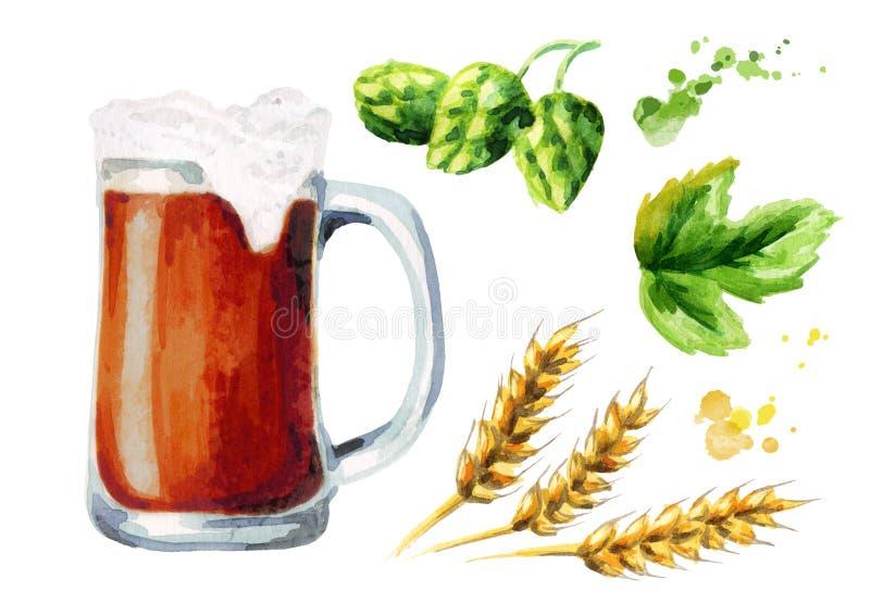 Cerveza, saltos, sistema de la malta watercolor ilustración del vector