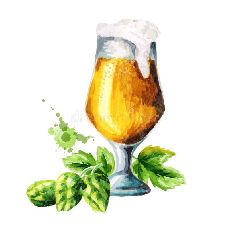 Cerveza, saltos, sistema de la malta watercolor stock de ilustración