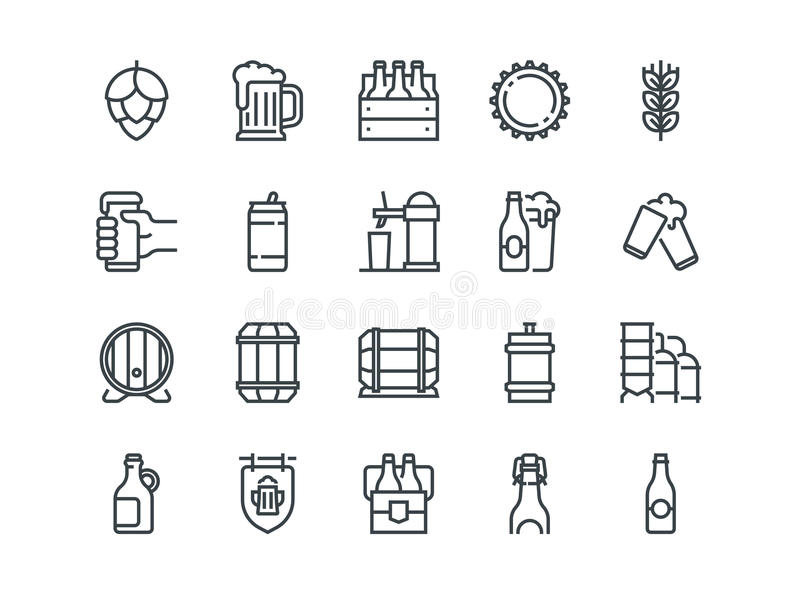 Cerveza Sistema de iconos del vector del esquema Incluye por ejemplo la botella, barril, taza, puede y otra Movimiento Editable p libre illustration