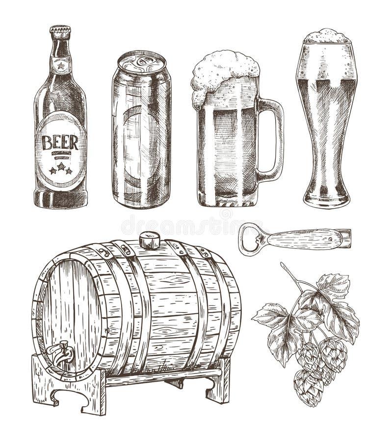 Cerveza y Ale Collection Isolated en el contexto blanco ilustración del vector