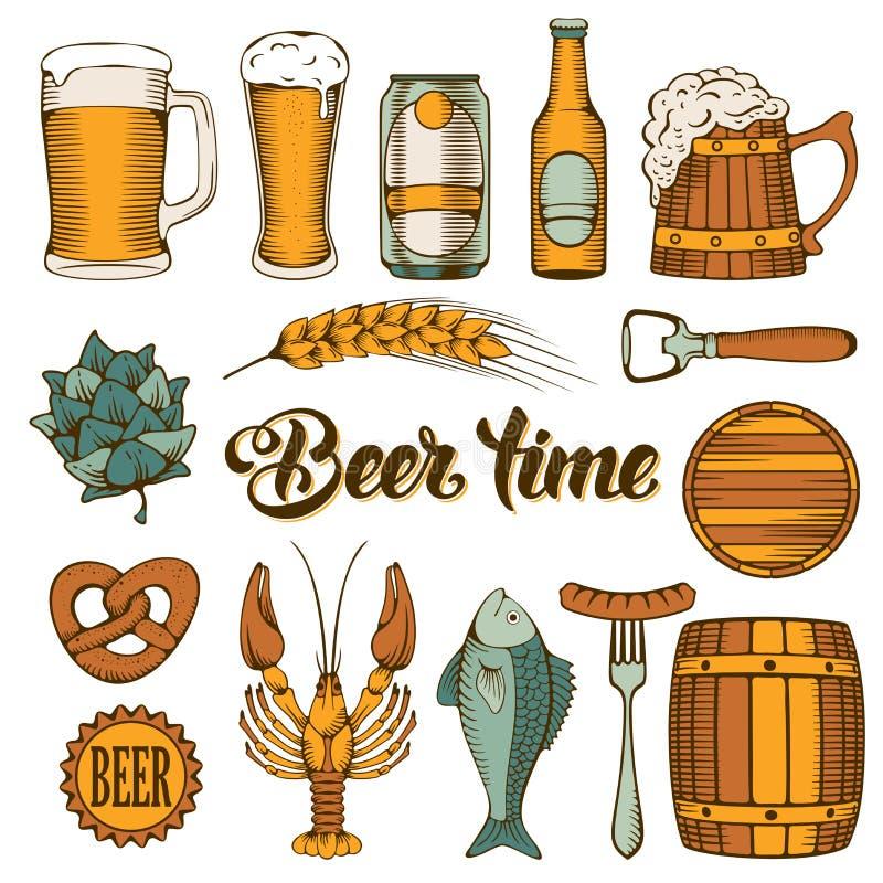 Cerveza y bocado libre illustration