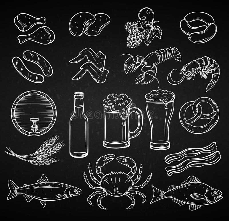 Cerveza y bocado dibujados mano stock de ilustración