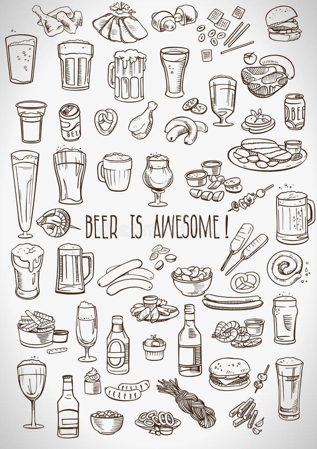 Cerveza y bocados incompletos ilustración del vector