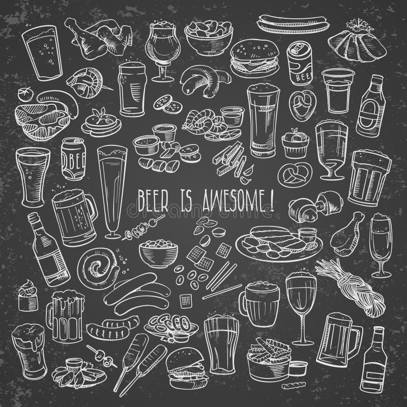 Cerveza y bocados incompletos stock de ilustración