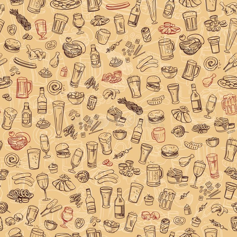 Cerveza y bocados incompletos, fondo inconsútil ilustración del vector