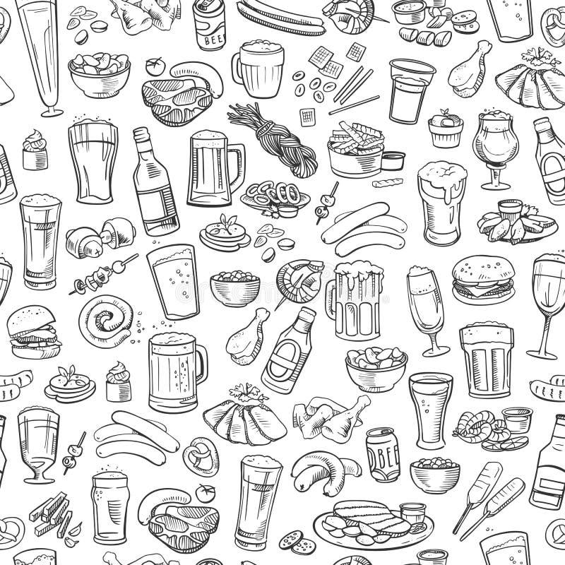 Cerveza y bocados incompletos, fondo inconsútil libre illustration